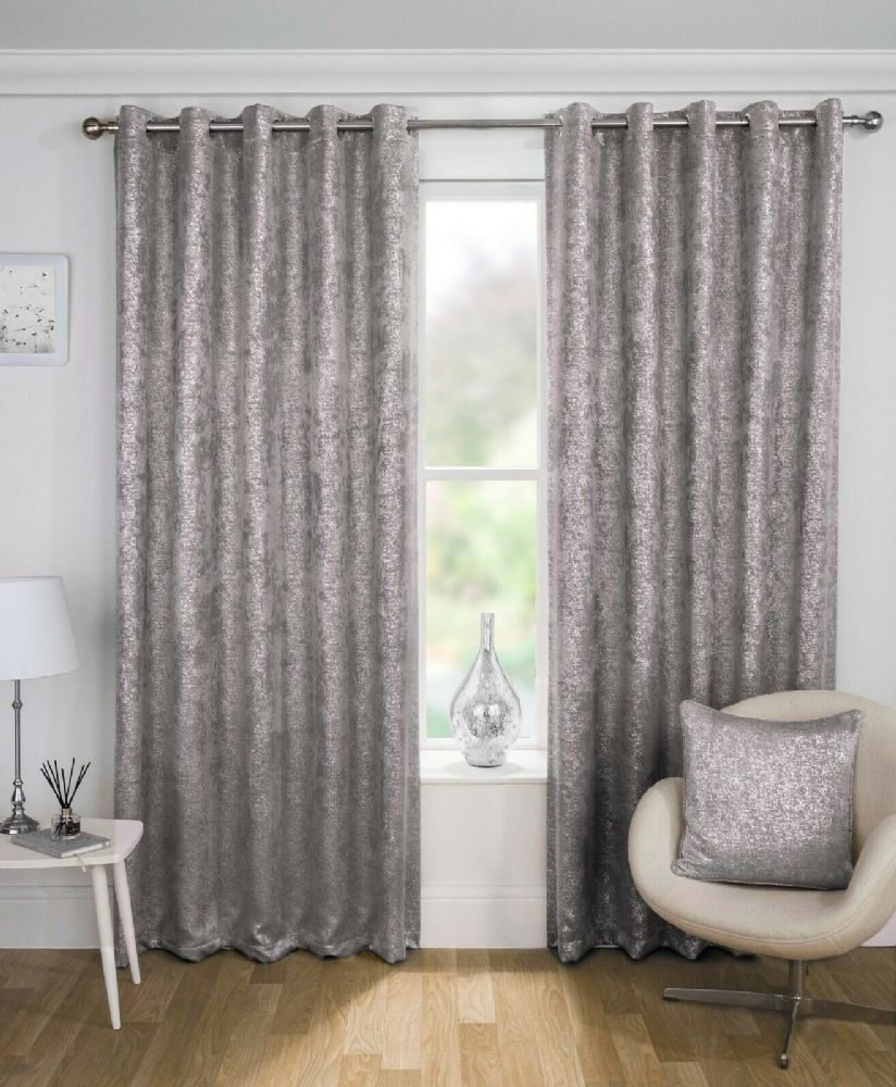 GLAM NEW THERMAL SPARKLE METALLIC BLING LINED BLOCK OUT EYELET RING TOP CURTAINS GREY SILVER